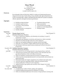 Sample Resume For Assembly Line Worker by Unforgettable Industrial Maintenance Mechanic Resume Examples To