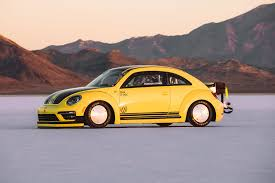 volkswagen beetle yellow 543 hp volkswagen beetle hits 205 122 mph at bonneville salt flats