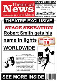 theatre theme newspaper birthday card for him karmakards