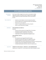 Front Office Manager Resume Sample by Resume Office Manager Resume For Your Job Application
