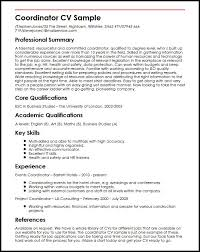Construction Project Coordinator Resume Sample by Coordinator Cv Sample Myperfectcv