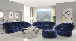 Blue Living Room Set Romanus Traditional Royal Blue Velvet Tufted 4pc Living Room Set
