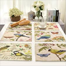 aliexpress com buy home decor hand painted bird placemat linen