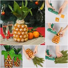 Paper Pineapple Decorations Creative Gift Wrap Ideas Wine Bottle Looks Like Pineapple