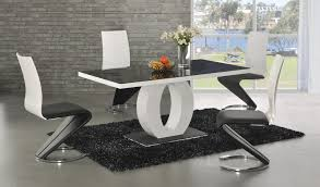 Dining Table Design by Ga Angel Black Glass White Gloss 160 Cm Designer Dining Set 4 6 Z