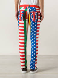 Multicoloured Flag Lyst Moschino Flag Print Skinny Trousers For Men