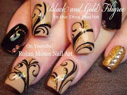 black and gold glitter nails design bling filigree nail art