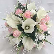 Wedding Flowers Pink Brides Posy Bouquet Pink Ivory Calla Lilies Roses Artificial