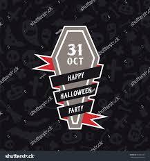 happy halloween party banner coffin editable stock vector