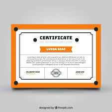 graduation certificate template with orange elements vector free