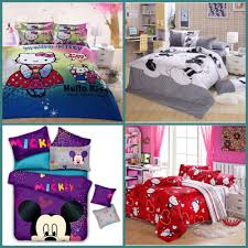 Mickey And Minnie Comforter Cotton 4pcs Queen Size 3d Hello Kitty Mickey Mouse And Minnie