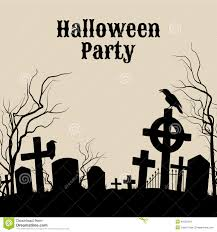 halloween party on a spooky graveyard retro poster stock vector