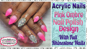 how to acrylic nails nail art design pink omber with