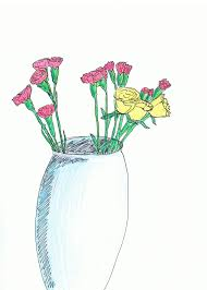 Vase Of Flowers Drawing Colourful Flowers Drawing With Flower Vase Drawing Plants And