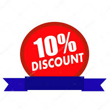 discount ribbon 10 discount white wording on circle background ribbon blue