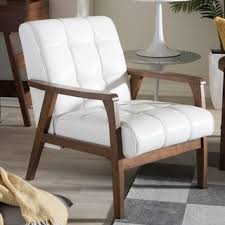 Century Chair Mid Century White Faux Leather Chair By Baxton Studio Free