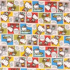 beige kitty cute colorful comic manga story oxford fabric