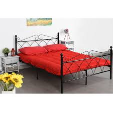 platform metal bed frame foundation headboard furniture bedroom