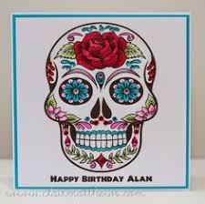 sugar skull happy birthday card handmade day of the dead tattoo