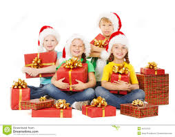 christmas kids presents children in hatewith with gifts stock