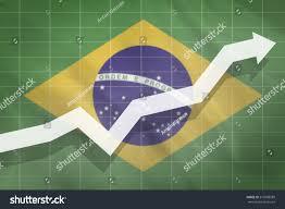 The Flag Of Brazil White Arrow Growth On Background Flag Stock Illustration 573088588