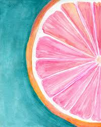 Kitchen Artwork Ideas Grapefruit On Turquoise Watercolor Painting Original Citrus Art