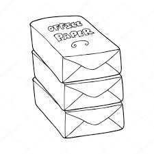 dessin de bureau pile de papier de bureau dessin animé noir et blanc image