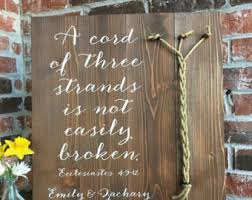 3 cords wedding ceremony a cord of three strands ecclesiastes 4 9 12 stain wood