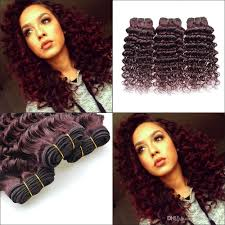 picture of hair sew ins 7a brazilian virgin hair deep wave wine red sew in human hair