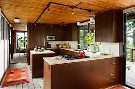 Midcentury Modern Kitchens - decor wooden ceiling design ideas plus track lighting also