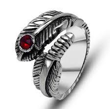 just men rings 2018 hot design feather shape men ring gemstone rings vintage