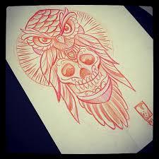 owl with sugar skull design tattooist tattooshop flickr