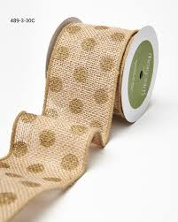 burlap ribbon 3 inch printed burlap gold polka dots buy ribbons online