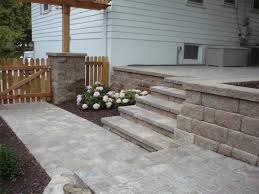 exterior classy outdoor floor decoration with paver patio step