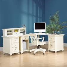 Compact L Shaped Desk Retro White Stained Oak Wood Computer Desk For Home Office