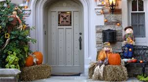 Home Entrance Decorating Ideas Awesome House Entrance Decoration Ideas Using Large Faux Pumpkins
