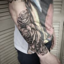 grey and black rose tattoo half sleeve cross tattoo designs
