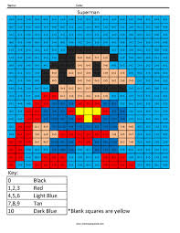 superman addition coloring squared