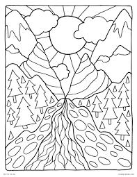 coloring pages for landscapes landscape coloring pages nature scenes detailed free arilitv com