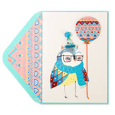 owl with balloon birthday cards papyrus
