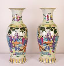Hand Painted Chinese Vase Pair 2ft Chinese Canton Porcelain Vases Hand Painted