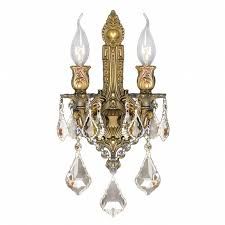 Chandelier Wall Sconce Gt Versailles 2 Light French Gold Finish And Golden Teak Crystal