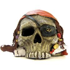 blue ribbon pet products environments pirate skull ornament