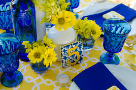Yellow And Blue Decor Cobalt Blue And Yellow Tablescape Archives Fleur De Lis Event