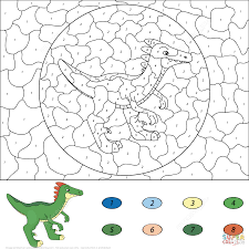 dinosaurs color by number coloring pages free printable pictures