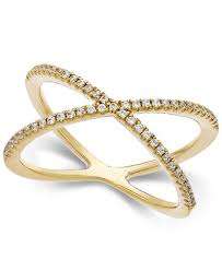 diamond x ring arabella swarovski zirconia x ring in 14k gold rings jewelry