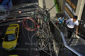 tangled overhead wires of bangkok bill gates concerned bangkok