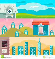 Landscape With Houses by Cartoon Landscape With Houses Windows Clouds And Sky Stock