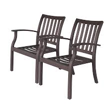 Aluminum Patio Dining Set Shop Allen Roth Gatewood 2 Count Brown Aluminum Stackable Patio