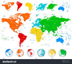 World Continents And Countries Map by Detailed Vector World Map Colorful Continents Stock Vector